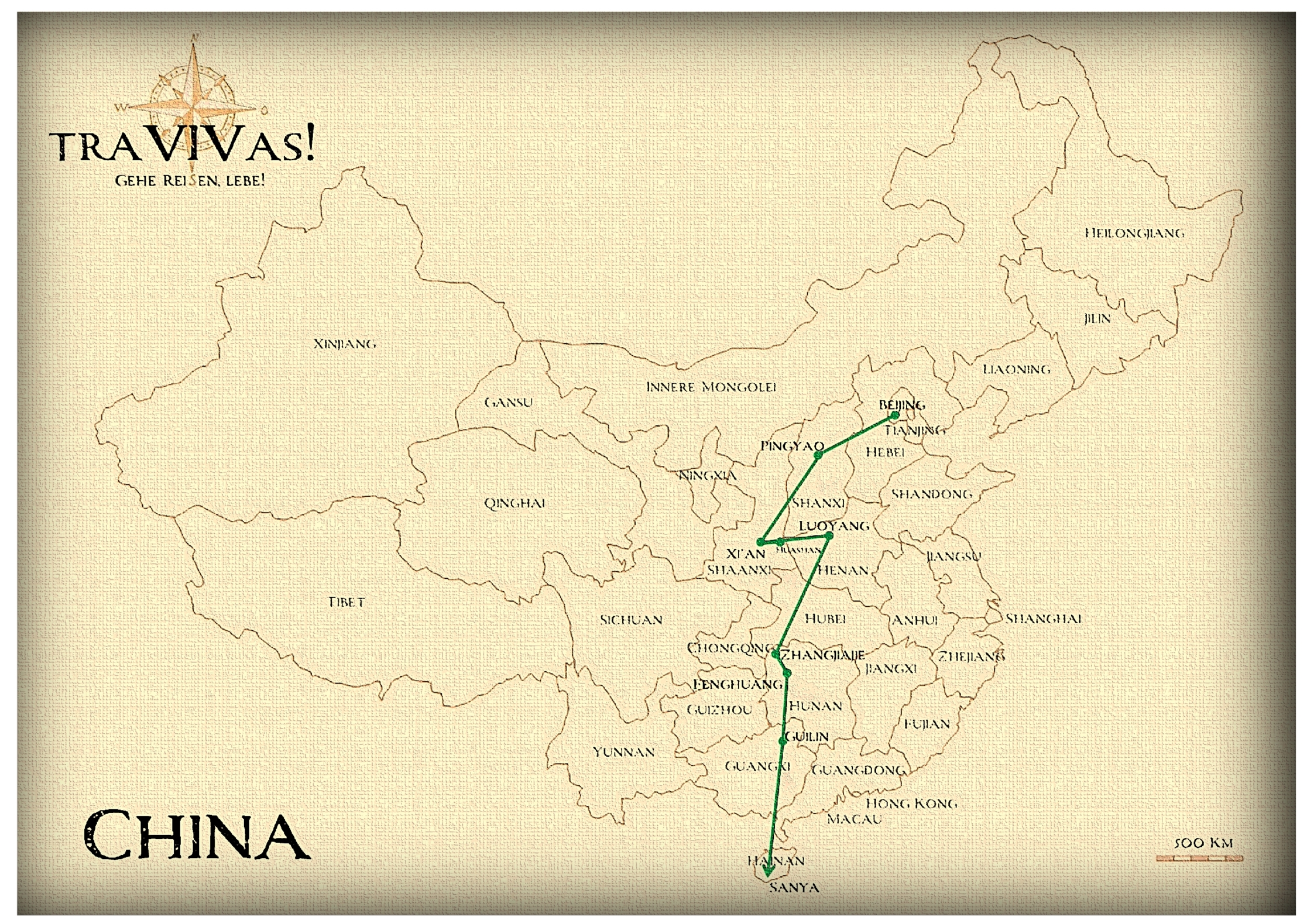 Route durch China